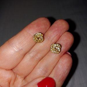 Gold diamond knot earrings